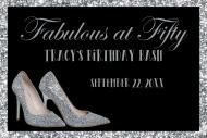 Birthday Mini Champagne Label - Silver High Heels