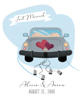 Wedding Wine Label - Just Married Car