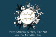 Holiday Mini Wine Label - Natural Cotton Christmas Wreath