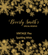 Birthday Champagne Label - Elegant Snowflakes
