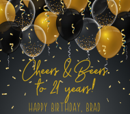 Birthday Beer Label - Black and Gold Balloons