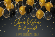 Birthday Growler Label - Black and Gold Balloons