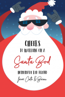 Holiday Large Wine Label - Santa Bod