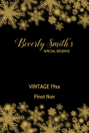Birthday Large Wine Label - Elegant Snowflakes