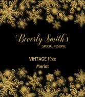 Birthday Wine Label - Elegant Snowflakes