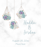 Wedding Wine Label - Geometric Succulent Terrarium