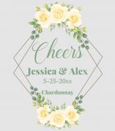 Wedding Wine Label - Yellow Roses Geometric Frame
