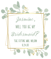 Wedding Wine Label - Botanical Frame