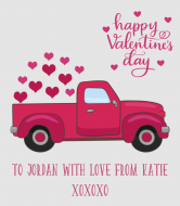 Holiday Wine Label - Valentine Retro Truck