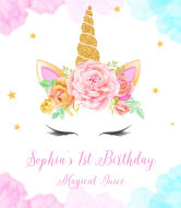 Birthday Wine Label - Floral Wreath Unicorn