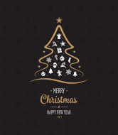 Holiday Wine Label - Golden Christmas Tree