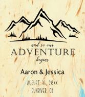 Wedding Wine Label - Mountain Adventure