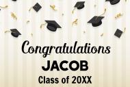Graduations Mini Champagne Label - Graduation Caps & Confetti