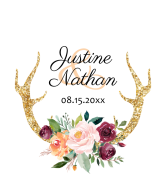Wedding Wine Label - Floral Antlers