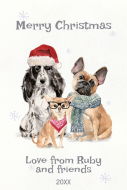 Holiday Large Wine Label - Christmas Dogs