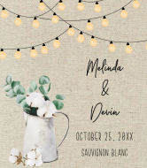 Wedding Wine Label - Natural Cotton & Eucalyptus Wedding Lights