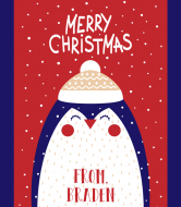 Holiday Cider Label - Christmas Penguin