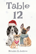 Wedding Table Number Label - Christmas Dogs