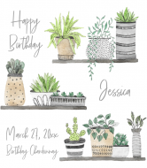 Birthday Wine Label - Plants on Shelves