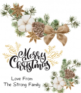 Holiday Wine Label - Natural Cotton and Pine Garland