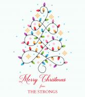 Holiday Wine Label - Lighted Tree