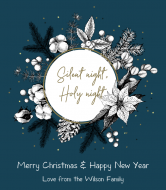 Holiday Wine Label - Natural Cotton Christmas Wreath