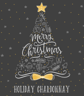 Holiday Wine Label - Hand Drawn Christmas Tree