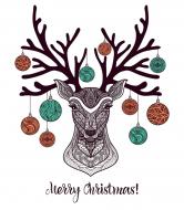 Holiday Wine Label - Christmas Deer