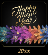Holiday Wine Label - Happy New Year Garland