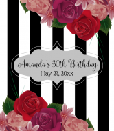 Birthday Wine Label - Realistic Roses & Stripes