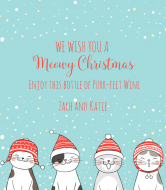 Holiday Wine Label - Meowy Christmas
