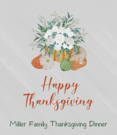 Holiday Wine Label - Thanksgiving Flowers and Pumpkins