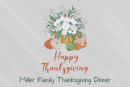 Holiday Large Wine Label - Thanksgiving Flowers and Pumpkins