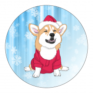 Holiday Label - Christmas Corgi
