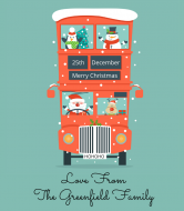 Holiday Wine Label - Christmas Double Decker Bus