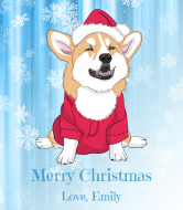 Holiday Wine Label - Christmas Corgi