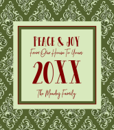 Holiday Wine Label - Holiday Damask