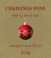 Holiday Wine Label - Red Ornament