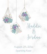 Wedding Champagne Label - Geometric Succulent Terrarium