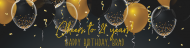Birthday Custom Label Bottled Water - Black and Gold Balloons