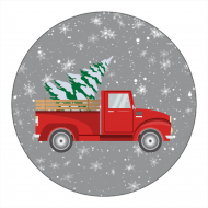 Holiday Canning Label - Retro Red Truck Christmas