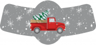 Holiday Bottle Neck Label - Retro Red Truck Christmas
