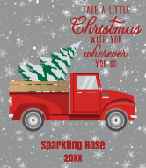 Holiday Champagne Label - Retro Red Truck Christmas