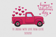 Holiday Growler Label - Valentine Retro Truck