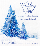 Wedding Wine Label - Watercolor Blue Trees