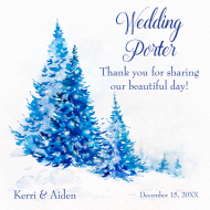Wedding Growler Label - Watercolor Blue Trees