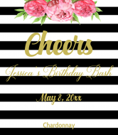 Birthday Wine Label - Wedding Stripes