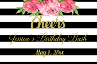 Birthday Mini Wine Label - Wedding Stripes