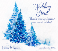 Wedding Beer Label - Watercolor Blue Trees