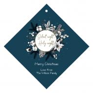 Holiday Wine Hang Tag - Natural Cotton Christmas Wreath